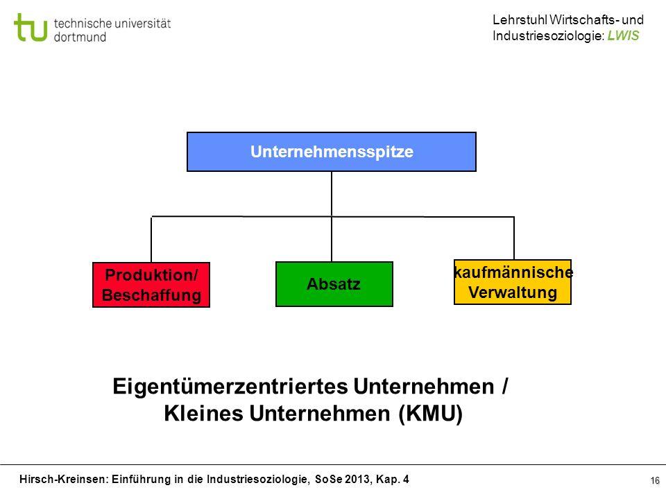 Hirsch-Kreinsen: Einführung in die Industriesoziologie, SoSe 2013, Kap. 4 Lehrstuhl Wirtschafts- und Industriesoziologie: LWIS 16 Unternehmensspitze P