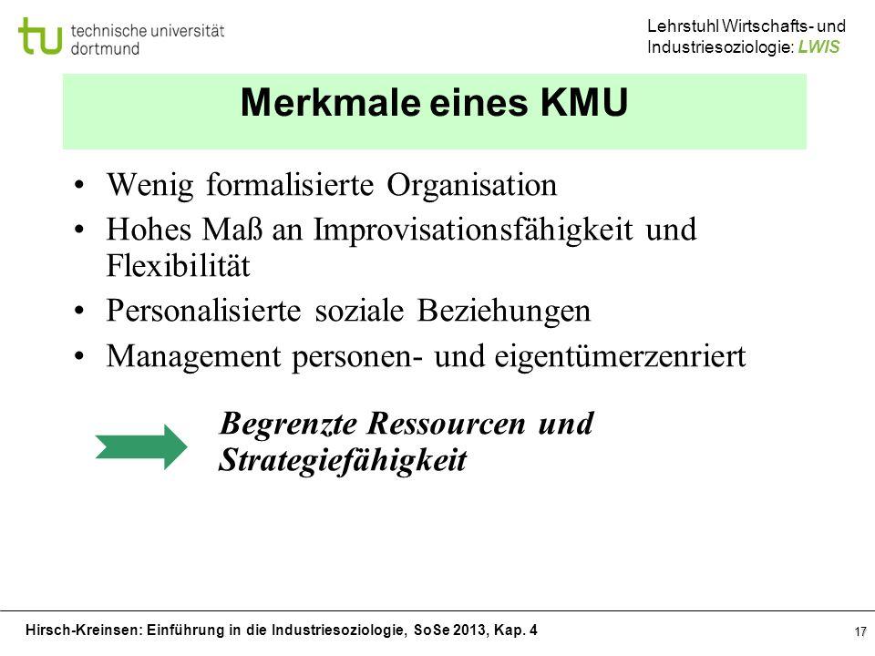 Hirsch-Kreinsen: Einführung in die Industriesoziologie, SoSe 2013, Kap. 4 Lehrstuhl Wirtschafts- und Industriesoziologie: LWIS 17 Merkmale eines KMU W