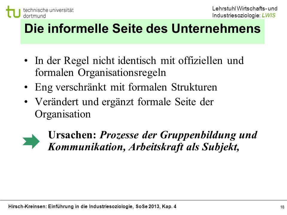 Hirsch-Kreinsen: Einführung in die Industriesoziologie, SoSe 2013, Kap. 4 Lehrstuhl Wirtschafts- und Industriesoziologie: LWIS 18 Die informelle Seite