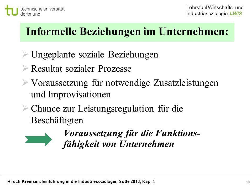 Hirsch-Kreinsen: Einführung in die Industriesoziologie, SoSe 2013, Kap. 4 Lehrstuhl Wirtschafts- und Industriesoziologie: LWIS 19 Informelle Beziehung