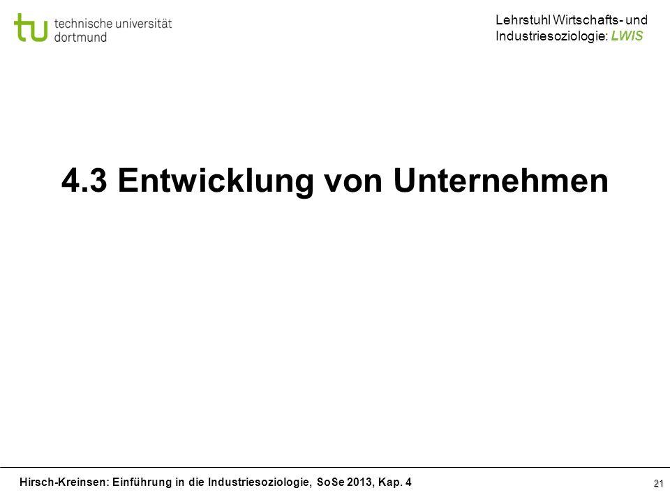 Hirsch-Kreinsen: Einführung in die Industriesoziologie, SoSe 2013, Kap. 4 Lehrstuhl Wirtschafts- und Industriesoziologie: LWIS 21 4.3 Entwicklung von