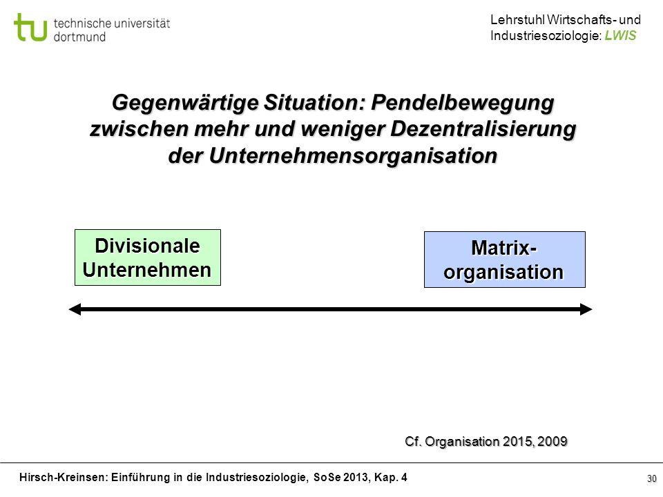 Hirsch-Kreinsen: Einführung in die Industriesoziologie, SoSe 2013, Kap. 4 Lehrstuhl Wirtschafts- und Industriesoziologie: LWIS 30 Matrix-organisation