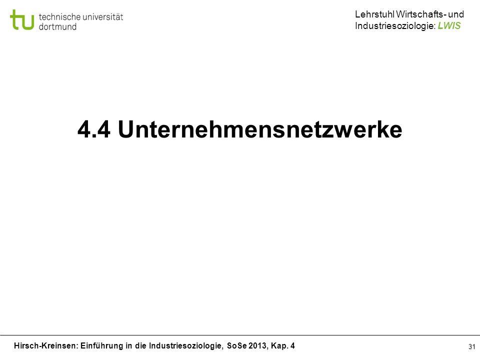 Hirsch-Kreinsen: Einführung in die Industriesoziologie, SoSe 2013, Kap. 4 Lehrstuhl Wirtschafts- und Industriesoziologie: LWIS 31 4.4 Unternehmensnetz