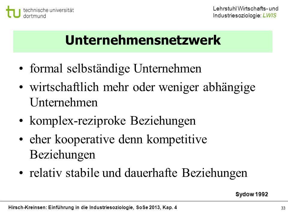 Hirsch-Kreinsen: Einführung in die Industriesoziologie, SoSe 2013, Kap. 4 Lehrstuhl Wirtschafts- und Industriesoziologie: LWIS 33 Unternehmensnetzwerk