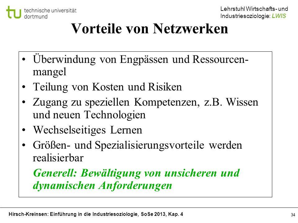 Hirsch-Kreinsen: Einführung in die Industriesoziologie, SoSe 2013, Kap. 4 Lehrstuhl Wirtschafts- und Industriesoziologie: LWIS 34 Vorteile von Netzwer