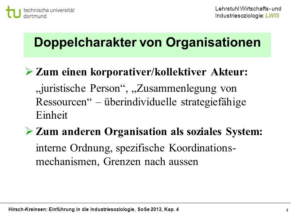 Hirsch-Kreinsen: Einführung in die Industriesoziologie, SoSe 2013, Kap. 4 Lehrstuhl Wirtschafts- und Industriesoziologie: LWIS 4 Doppelcharakter von O