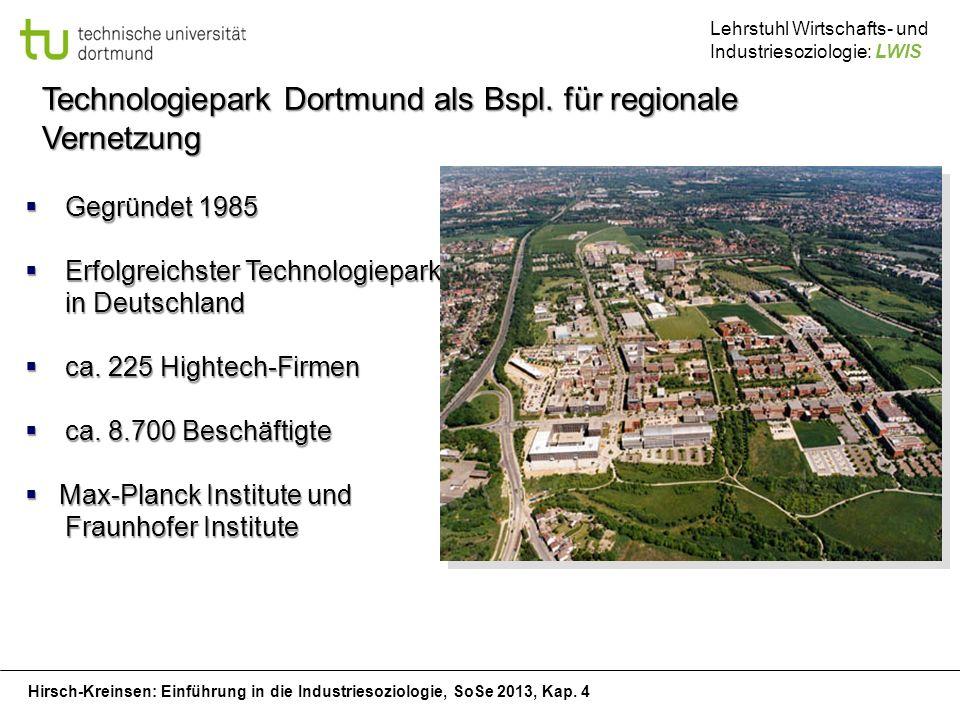 Hirsch-Kreinsen: Einführung in die Industriesoziologie, SoSe 2013, Kap. 4 Lehrstuhl Wirtschafts- und Industriesoziologie: LWIS Technologiepark Dortmun