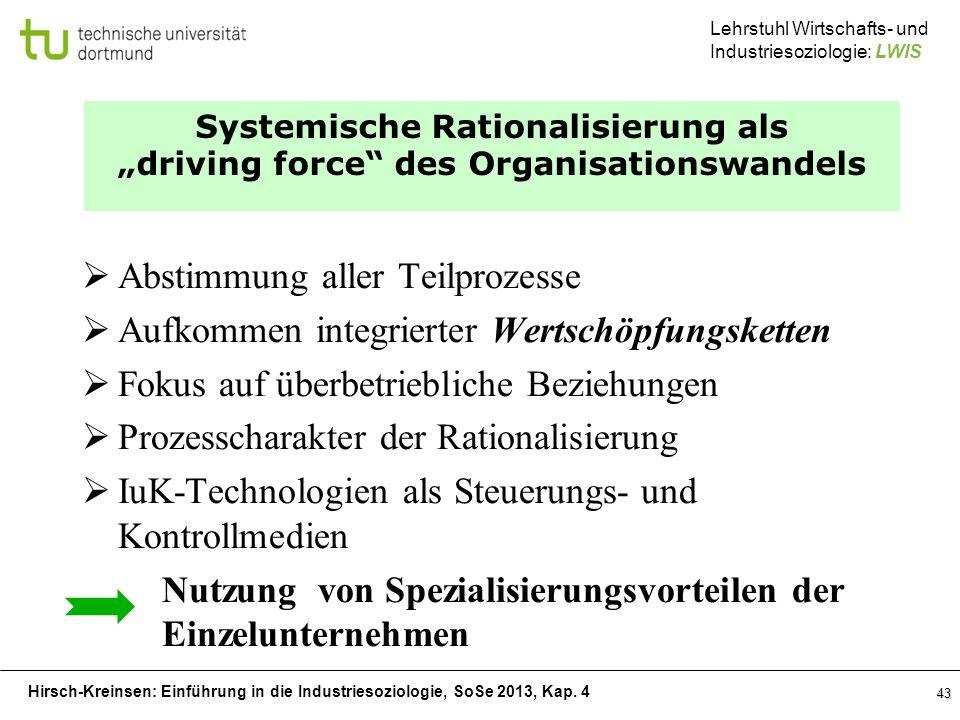 Hirsch-Kreinsen: Einführung in die Industriesoziologie, SoSe 2013, Kap. 4 Lehrstuhl Wirtschafts- und Industriesoziologie: LWIS 43 Systemische Rational