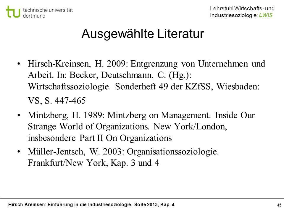Hirsch-Kreinsen: Einführung in die Industriesoziologie, SoSe 2013, Kap. 4 Lehrstuhl Wirtschafts- und Industriesoziologie: LWIS 45 Ausgewählte Literatu