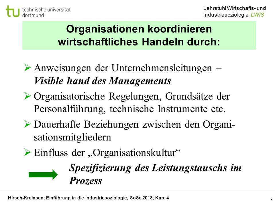 Hirsch-Kreinsen: Einführung in die Industriesoziologie, SoSe 2013, Kap. 4 Lehrstuhl Wirtschafts- und Industriesoziologie: LWIS Organisationen koordini
