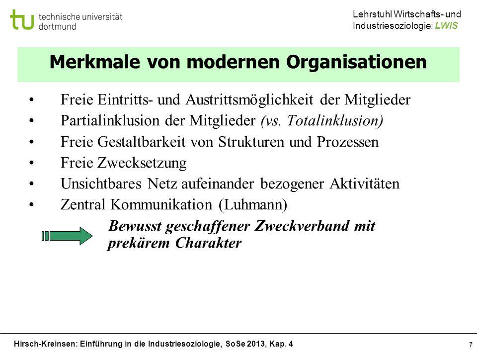 Hirsch-Kreinsen: Einführung in die Industriesoziologie, SoSe 2013, Kap. 4 Lehrstuhl Wirtschafts- und Industriesoziologie: LWIS 7 Merkmale von modernen