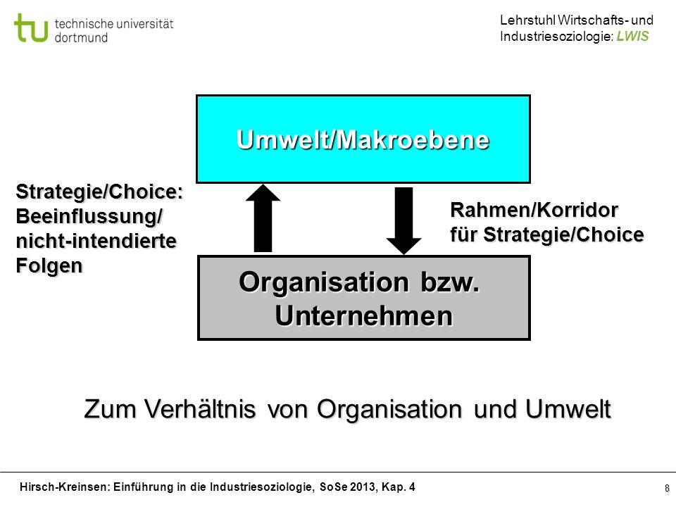 Hirsch-Kreinsen: Einführung in die Industriesoziologie, SoSe 2013, Kap. 4 Lehrstuhl Wirtschafts- und Industriesoziologie: LWIS 8 Umwelt/Makroebene Org