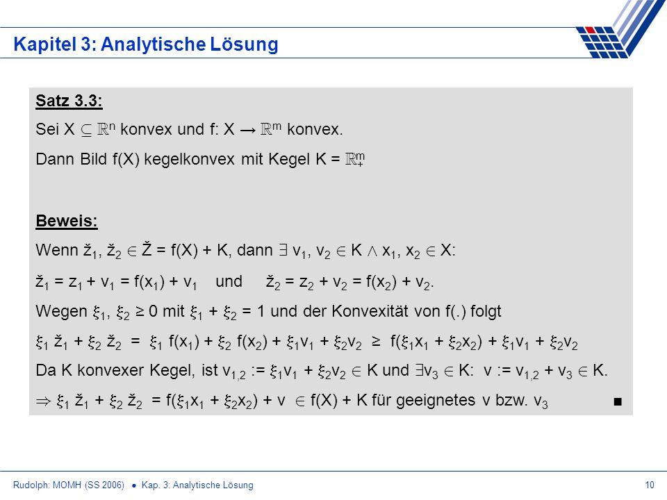 Rudolph: MOMH (SS 2006) Kap. 3: Analytische Lösung10 Kapitel 3: Analytische Lösung Satz 3.3: Sei X µ R n konvex und f: X R m konvex. Dann Bild f(X) ke
