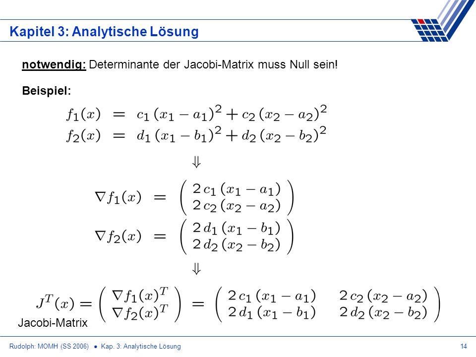 Rudolph: MOMH (SS 2006) Kap. 3: Analytische Lösung14 Kapitel 3: Analytische Lösung notwendig: Determinante der Jacobi-Matrix muss Null sein! Beispiel: