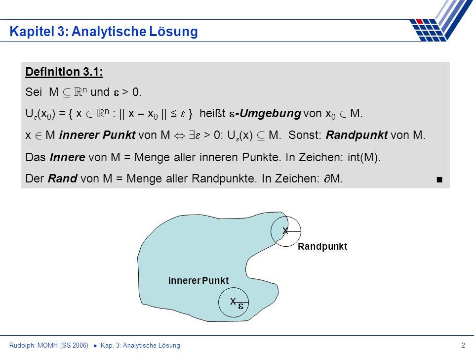 Rudolph: MOMH (SS 2006) Kap. 3: Analytische Lösung2 Kapitel 3: Analytische Lösung Definition 3.1: Sei M µ R n und > 0. U (x 0 ) = { x 2 R n : || x – x