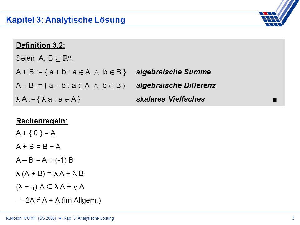 Rudolph: MOMH (SS 2006) Kap. 3: Analytische Lösung3 Kapitel 3: Analytische Lösung Definition 3.2: Seien A, B µ R n. A + B := { a + b : a 2 A Æ b 2 B }