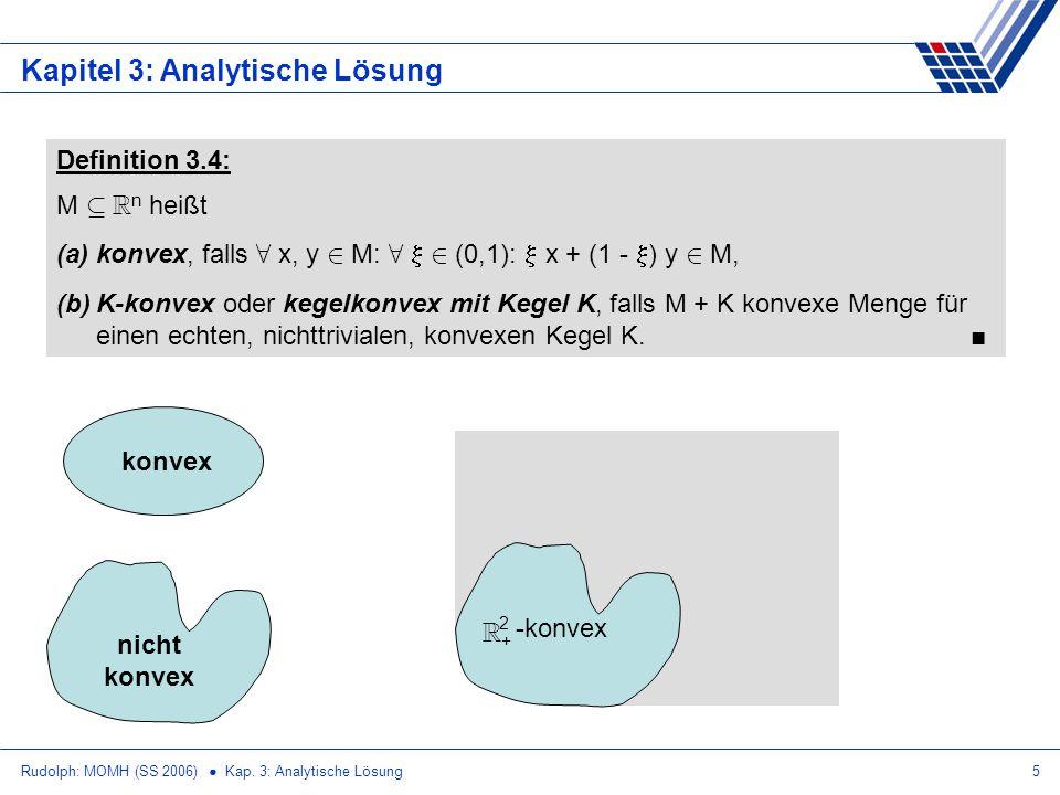 Rudolph: MOMH (SS 2006) Kap. 3: Analytische Lösung5 Kapitel 3: Analytische Lösung Definition 3.4: M µ R n heißt (a)konvex, falls 8 x, y 2 M: 8 2 (0,1)