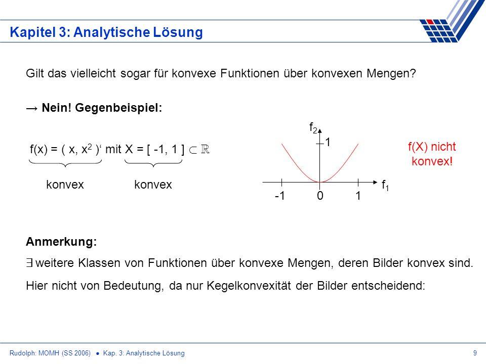 Rudolph: MOMH (SS 2006) Kap. 3: Analytische Lösung9 Kapitel 3: Analytische Lösung Gilt das vielleicht sogar für konvexe Funktionen über konvexen Menge