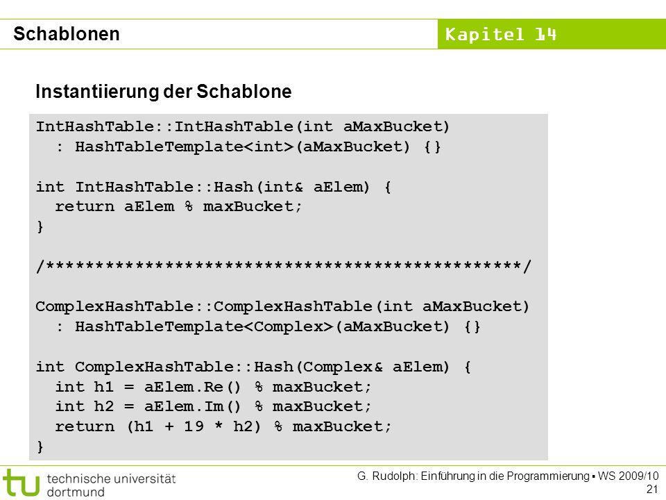 Kapitel 14 G. Rudolph: Einführung in die Programmierung WS 2009/10 21 Instantiierung der Schablone IntHashTable::IntHashTable(int aMaxBucket) : HashTa