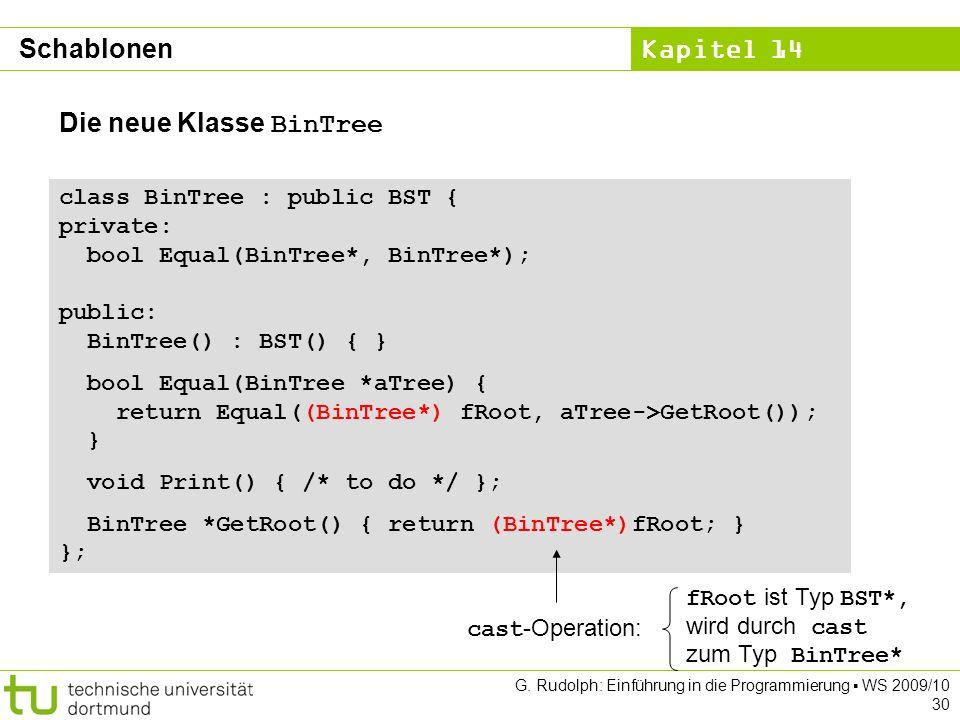 Kapitel 14 G. Rudolph: Einführung in die Programmierung WS 2009/10 30 class BinTree : public BST { private: bool Equal(BinTree*, BinTree*); public: Bi
