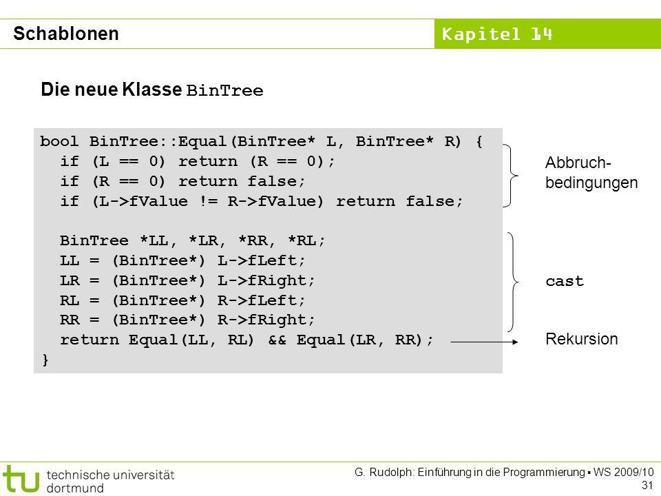 Kapitel 14 G. Rudolph: Einführung in die Programmierung WS 2009/10 31 Die neue Klasse BinTree bool BinTree::Equal(BinTree* L, BinTree* R) { if (L == 0