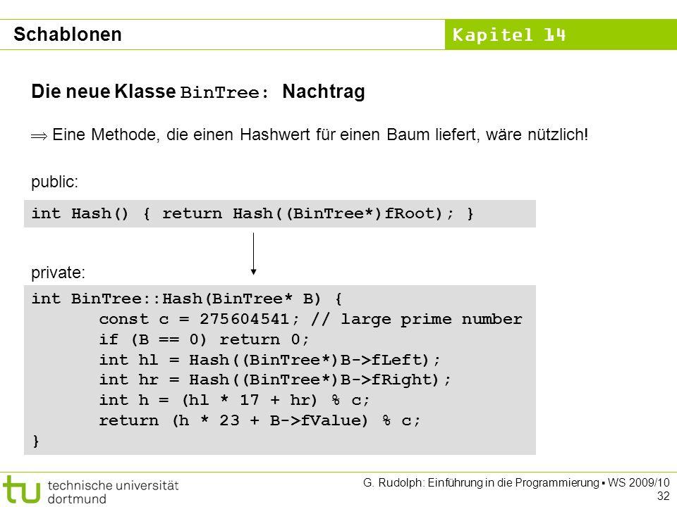 Kapitel 14 G. Rudolph: Einführung in die Programmierung WS 2009/10 32 Die neue Klasse BinTree: Nachtrag Eine Methode, die einen Hashwert für einen Bau