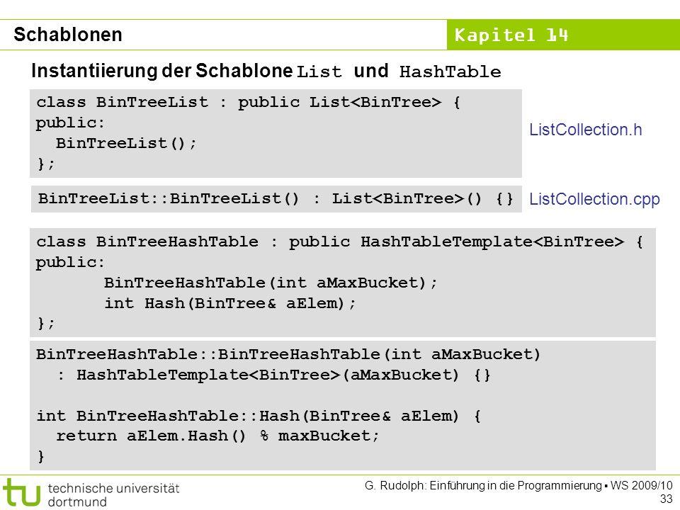 Kapitel 14 G. Rudolph: Einführung in die Programmierung WS 2009/10 33 Instantiierung der Schablone List und HashTable class BinTreeList : public List