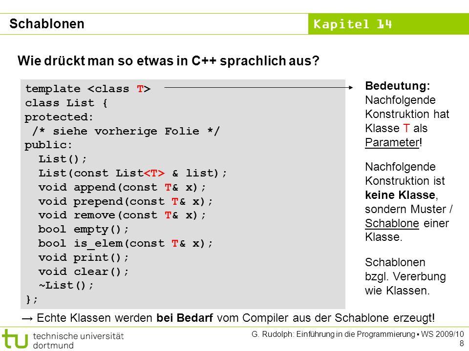 Kapitel 14 G. Rudolph: Einführung in die Programmierung WS 2009/10 8 Wie drückt man so etwas in C++ sprachlich aus? template class List { protected: /