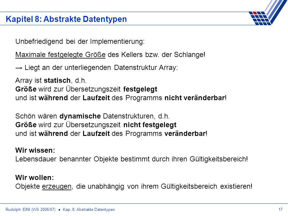 Rudolph: EINI (WS 2006/07) Kap. 8: Abstrakte Datentypen17 Kapitel 8: Abstrakte Datentypen Unbefriedigend bei der Implementierung: Maximale festgelegte