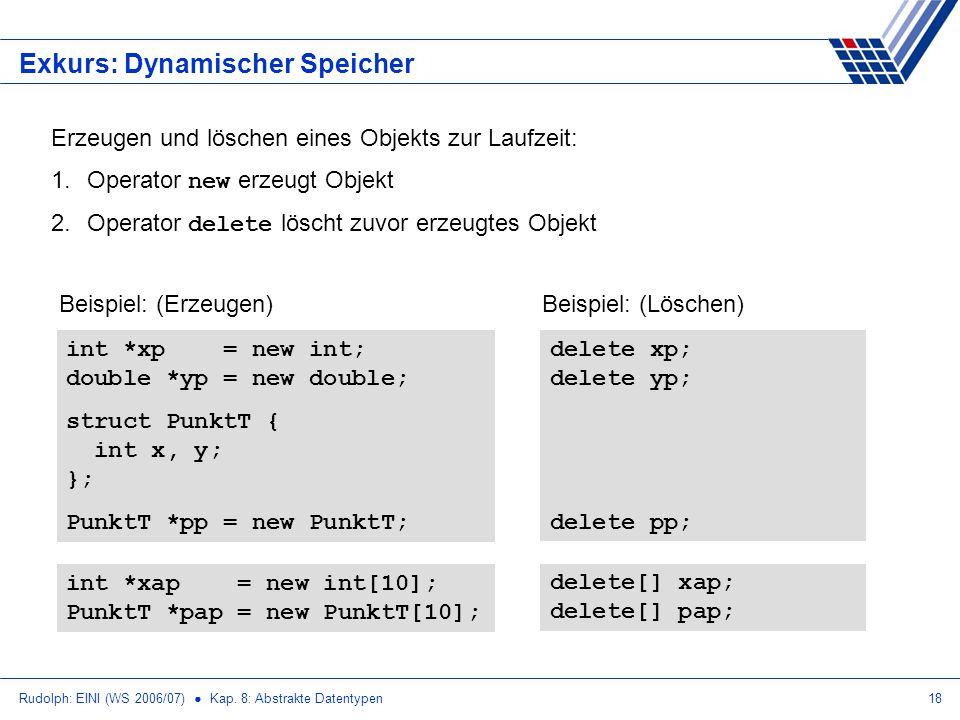 Rudolph: EINI (WS 2006/07) Kap. 8: Abstrakte Datentypen18 Exkurs: Dynamischer Speicher Erzeugen und löschen eines Objekts zur Laufzeit: 1.Operator new