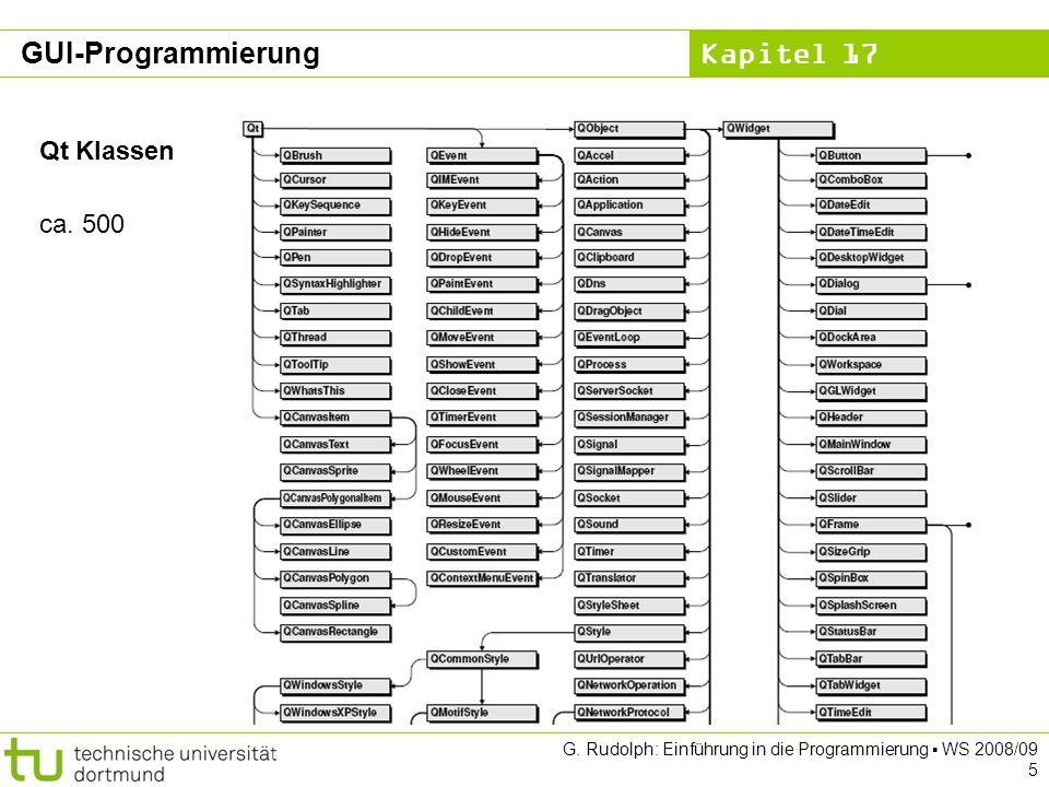 Kapitel 17 G. Rudolph: Einführung in die Programmierung WS 2008/09 5 Qt Klassen ca.