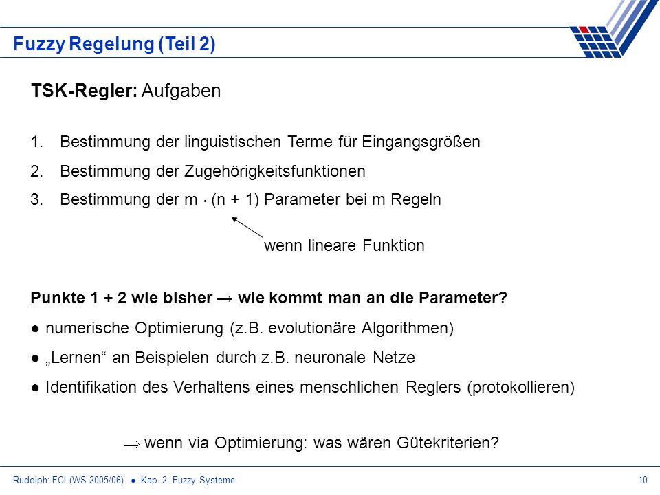 Rudolph: FCI (WS 2005/06) Kap. 2: Fuzzy Systeme10 Fuzzy Regelung (Teil 2) TSK-Regler: Aufgaben 1. Bestimmung der linguistischen Terme für Eingangsgröß