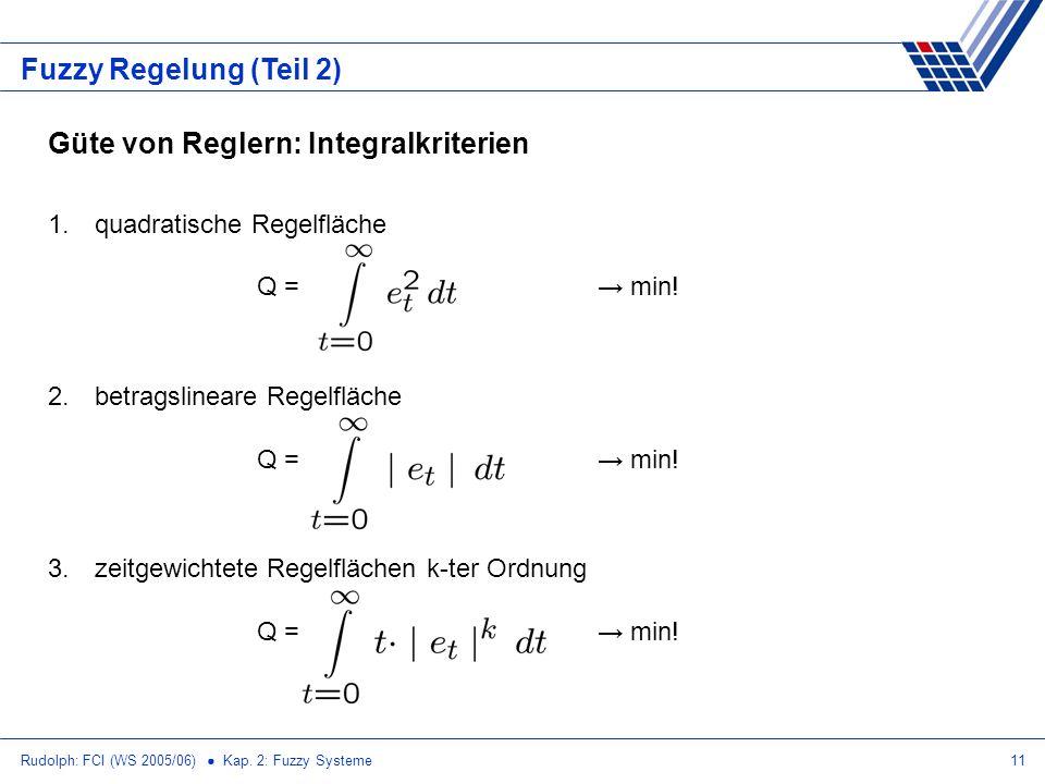 Rudolph: FCI (WS 2005/06) Kap. 2: Fuzzy Systeme11 Fuzzy Regelung (Teil 2) Güte von Reglern: Integralkriterien 1. quadratische Regelfläche Q = min! 2.
