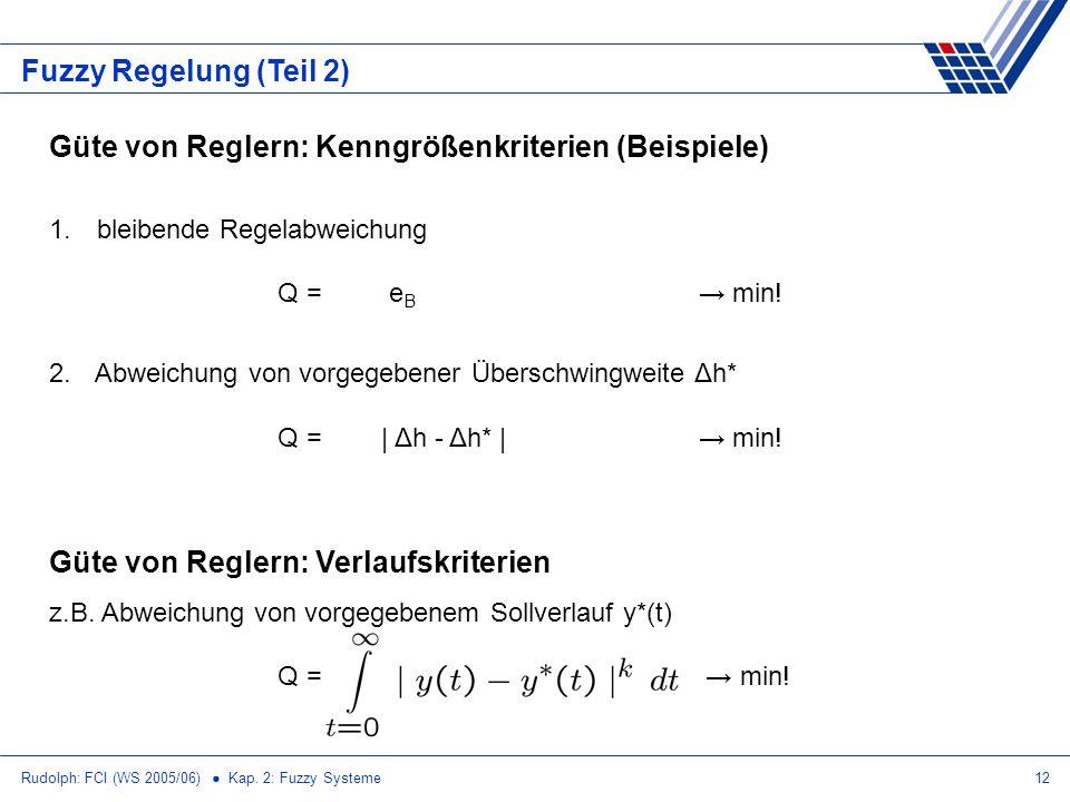 Rudolph: FCI (WS 2005/06) Kap. 2: Fuzzy Systeme12 Fuzzy Regelung (Teil 2) Güte von Reglern: Kenngrößenkriterien (Beispiele) 1. bleibende Regelabweichu