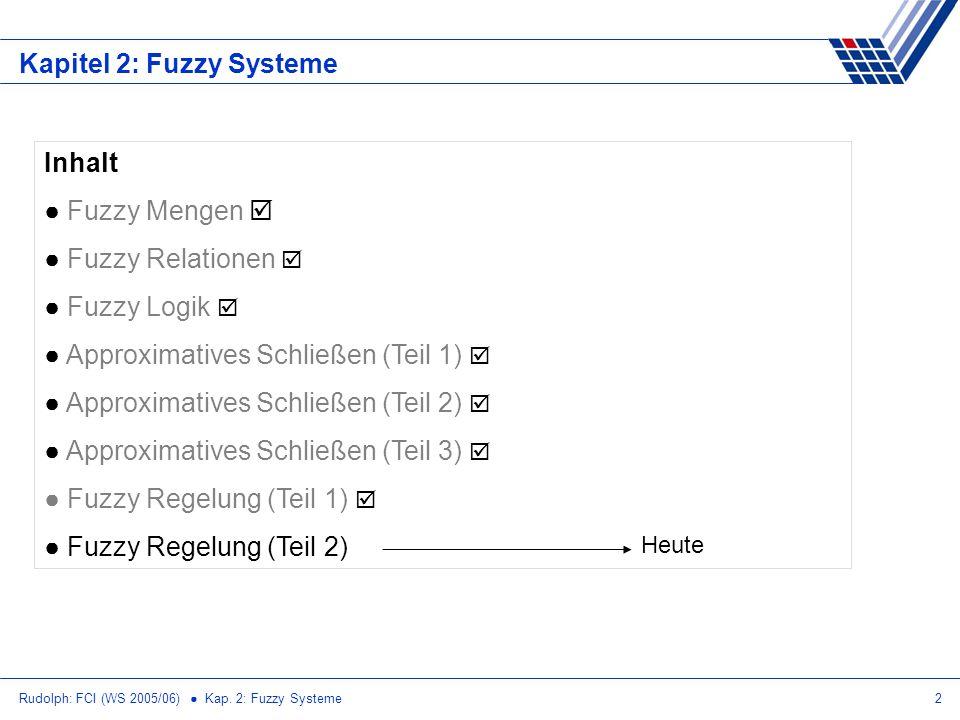 Rudolph: FCI (WS 2005/06) Kap. 2: Fuzzy Systeme2 Kapitel 2: Fuzzy Systeme Inhalt Fuzzy Mengen Fuzzy Relationen Fuzzy Logik Approximatives Schließen (T
