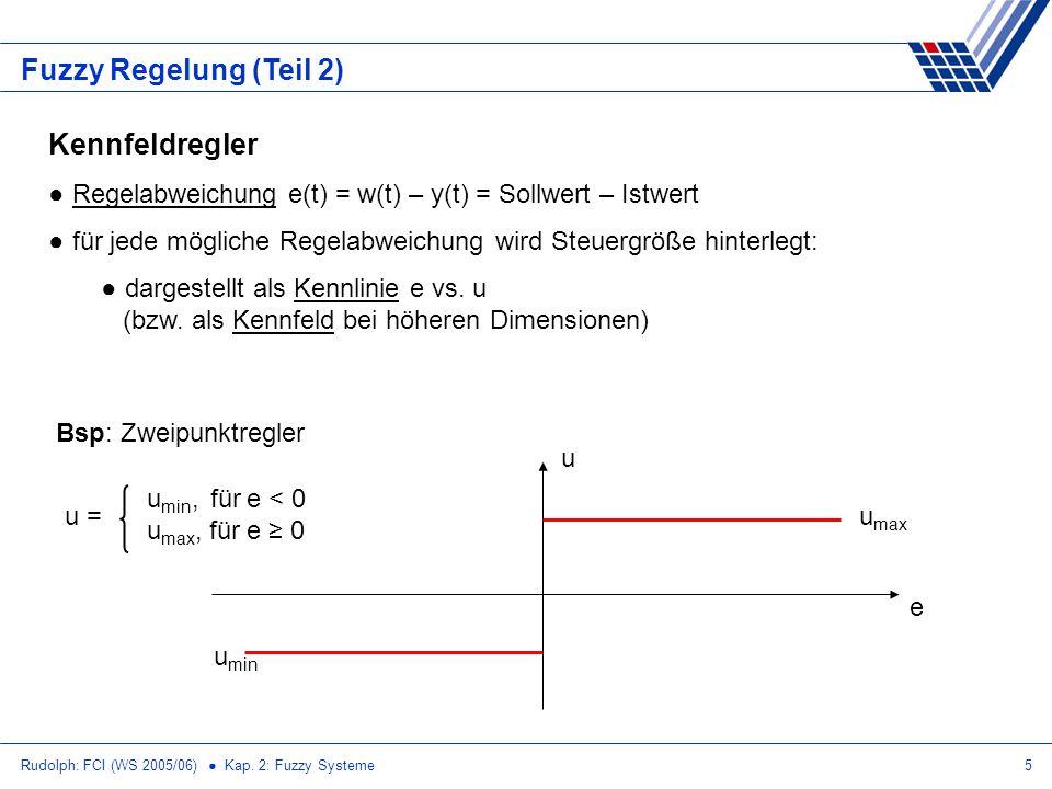 Rudolph: FCI (WS 2005/06) Kap. 2: Fuzzy Systeme5 Fuzzy Regelung (Teil 2) Kennfeldregler Regelabweichung e(t) = w(t) – y(t) = Sollwert – Istwert für je