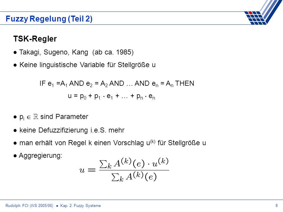Rudolph: FCI (WS 2005/06) Kap. 2: Fuzzy Systeme8 Fuzzy Regelung (Teil 2) TSK-Regler Takagi, Sugeno, Kang (ab ca. 1985) Keine linguistische Variable fü