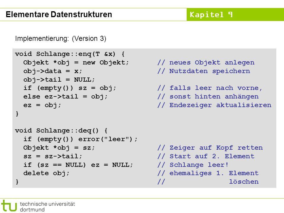 Kapitel 9 Implementierung: (Version 3) void Schlange::enq(T &x) { Objekt *obj = new Objekt;// neues Objekt anlegen obj->data = x;// Nutzdaten speicher