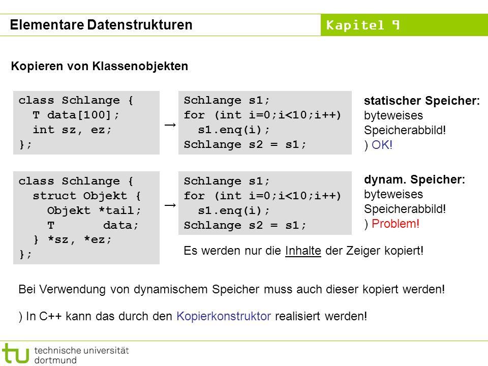 Kapitel 9 Elementare Datenstrukturen Kopieren von Klassenobjekten class Schlange { T data[100]; int sz, ez; }; Schlange s1; for (int i=0;i<10;i++) s1.