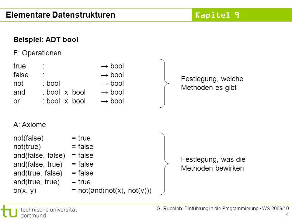 Kapitel 9 G. Rudolph: Einführung in die Programmierung WS 2009/10 4 Beispiel: ADT bool F: Operationen true: bool false: bool not: bool bool and: bool