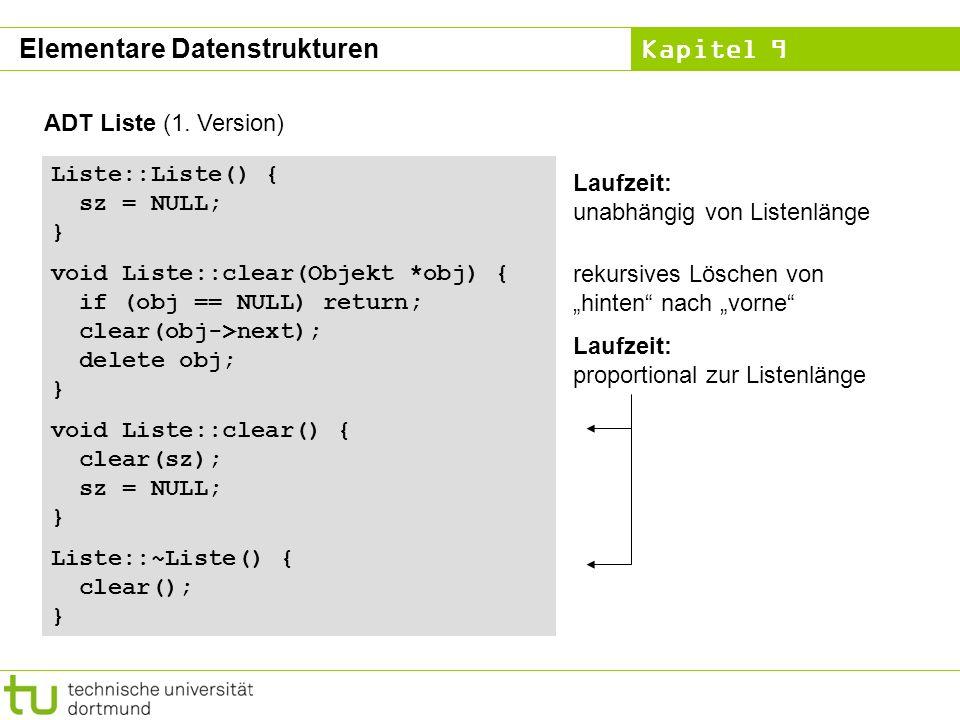 Kapitel 9 ADT Liste (1. Version) Liste::Liste() { sz = NULL; } void Liste::clear(Objekt *obj) { if (obj == NULL) return; clear(obj->next); delete obj;