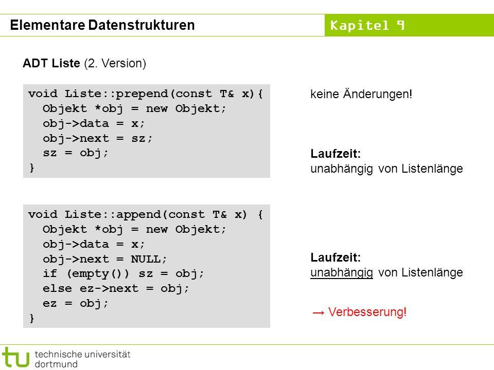 Kapitel 9 ADT Liste (2. Version) void Liste::append(const T& x) { Objekt *obj = new Objekt; obj->data = x; obj->next = NULL; if (empty()) sz = obj; el