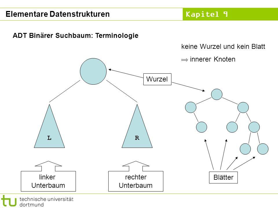 Kapitel 9 ADT Binärer Suchbaum: Terminologie LR linker Unterbaum rechter Unterbaum Wurzel Blätter keine Wurzel und kein Blatt innerer Knoten Elementar