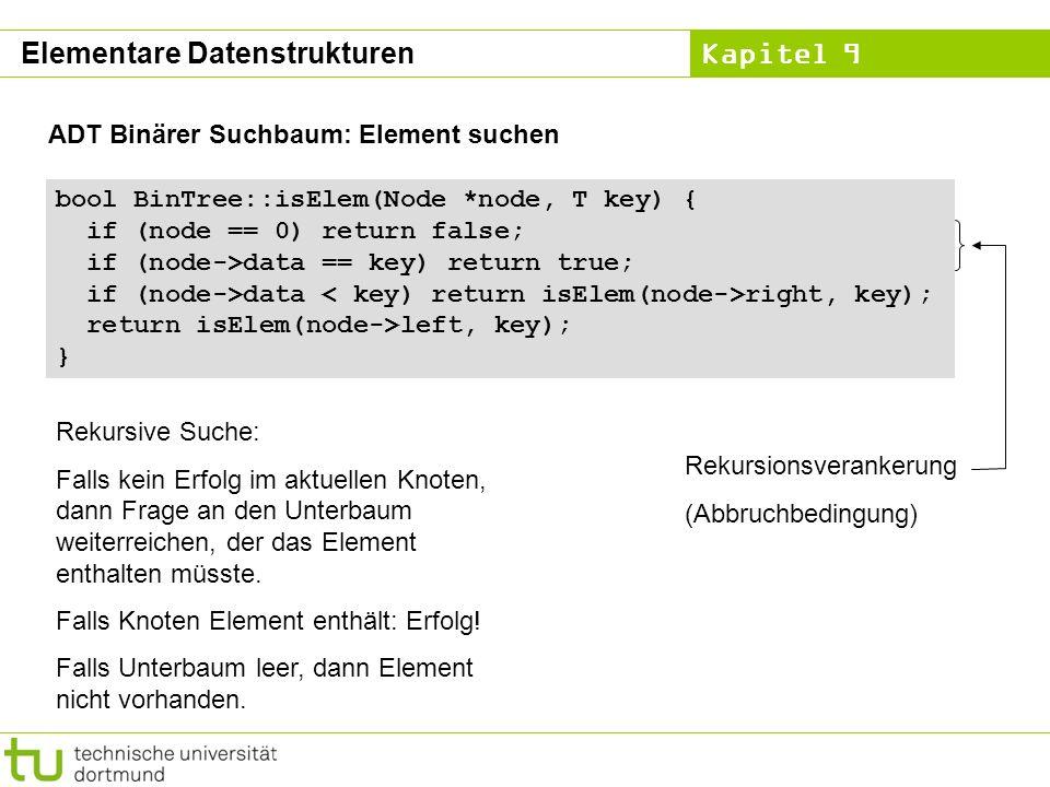 Kapitel 9 ADT Binärer Suchbaum: Element suchen bool BinTree::isElem(Node *node, T key) { if (node == 0) return false; if (node->data == key) return tr