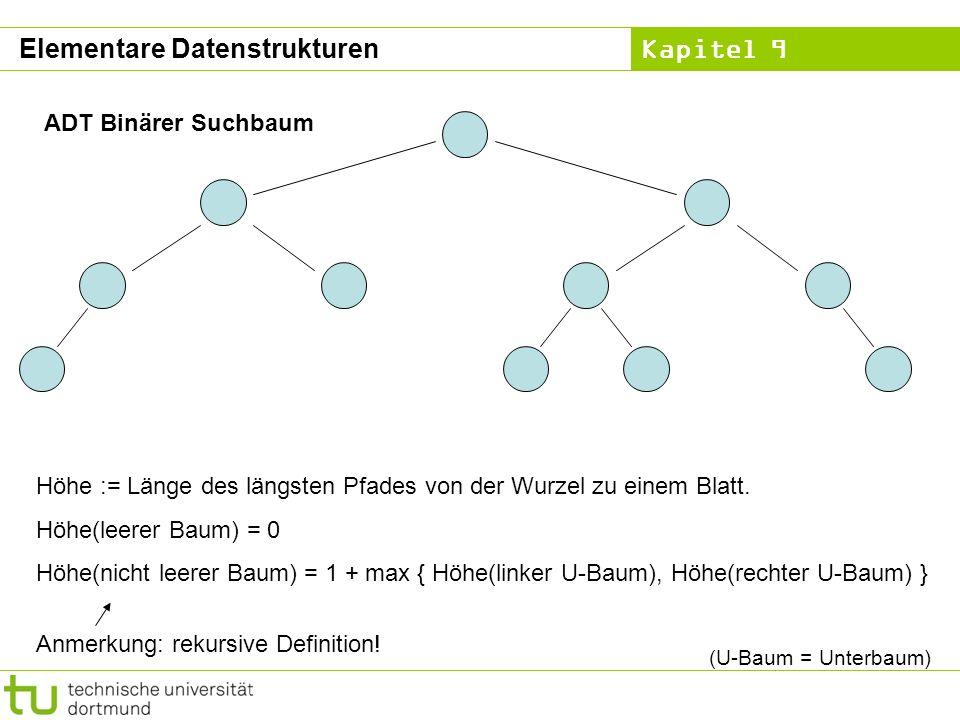 Kapitel 9 ADT Binärer Suchbaum Höhe := Länge des längsten Pfades von der Wurzel zu einem Blatt. Höhe(leerer Baum) = 0 Höhe(nicht leerer Baum) = 1 + ma