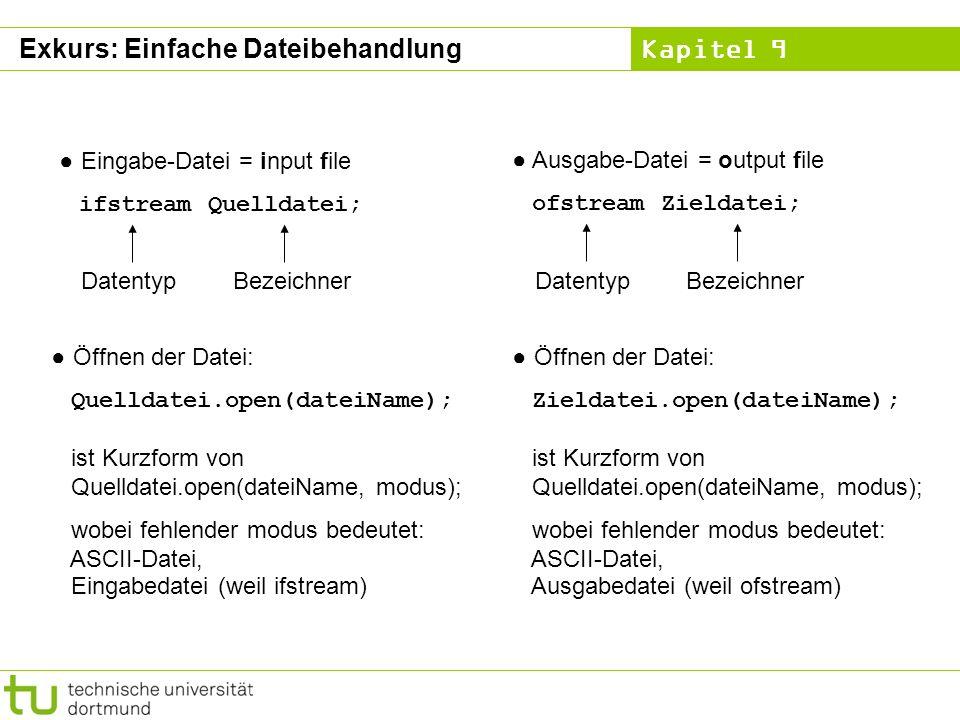 Kapitel 9 Eingabe-Datei = input file ifstream Quelldatei; DatentypBezeichner Ausgabe-Datei = output file ofstream Zieldatei; DatentypBezeichner Öffnen