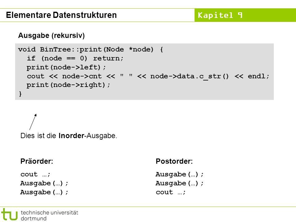 Kapitel 9 void BinTree::print(Node *node) { if (node == 0) return; print(node->left); cout cnt data.c_str() << endl; print(node->right); } Dies ist di