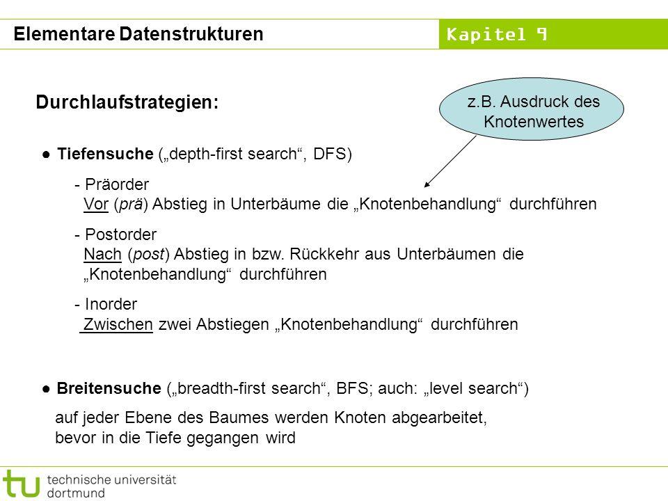 Kapitel 9 Durchlaufstrategien: Tiefensuche (depth-first search, DFS) - Präorder Vor (prä) Abstieg in Unterbäume die Knotenbehandlung durchführen - Pos