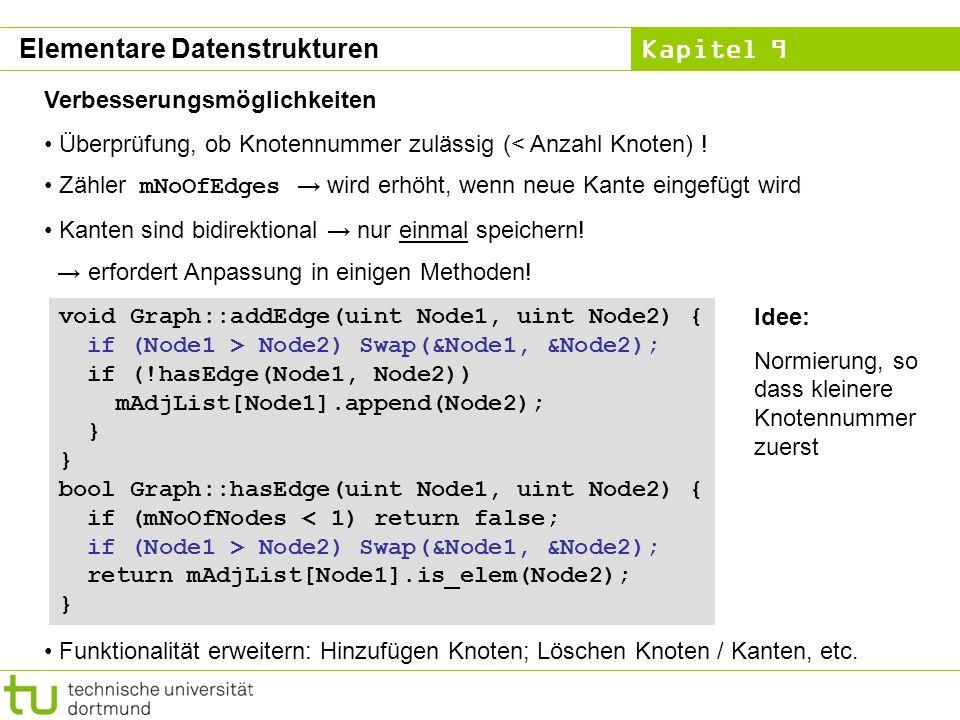Kapitel 9 Elementare Datenstrukturen Verbesserungsmöglichkeiten Überprüfung, ob Knotennummer zulässig (< Anzahl Knoten) ! Zähler mNoOfEdges wird erhöh