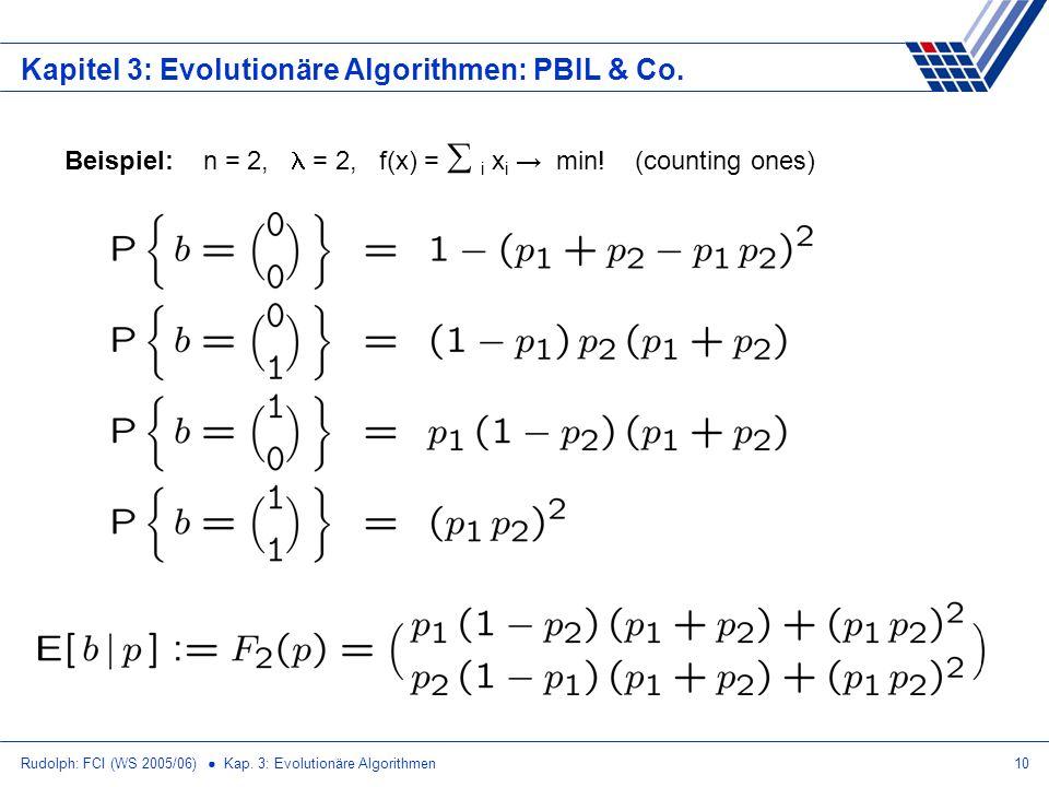 Rudolph: FCI (WS 2005/06) Kap. 3: Evolutionäre Algorithmen10 Kapitel 3: Evolutionäre Algorithmen: PBIL & Co. Beispiel: n = 2, = 2, f(x) = i x i min! (